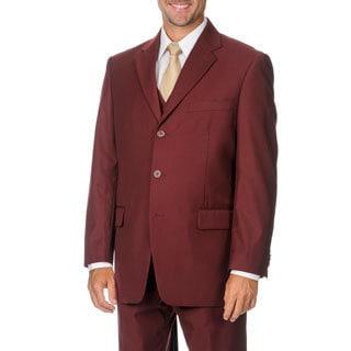 Giorgio Dante Men's Burgundy 3-piece Vested Suit