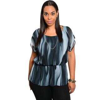 Stanzino Women's Plus Size Charcoal Chiffon Elastic-waist Top