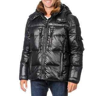 S13/NYC Men's Jet Black Hooded Down Coat