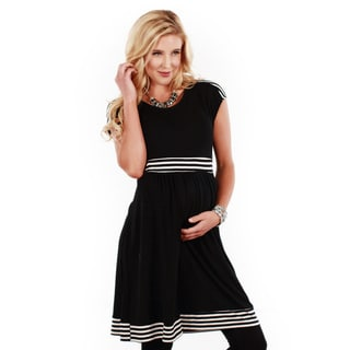 Women's Cap Sleeve Striped Maternity Dress