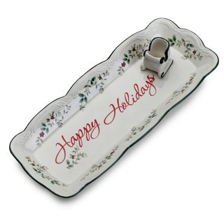Pfaltzgraff Winterberry Appetizer Tray with Toothpick Holder