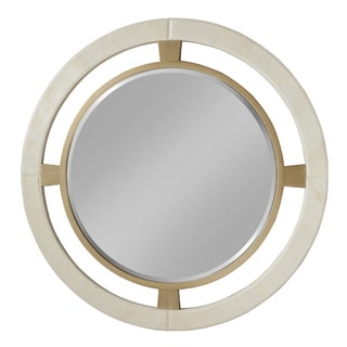 Morgana Two-tone Ivory Leather Wall Mirror