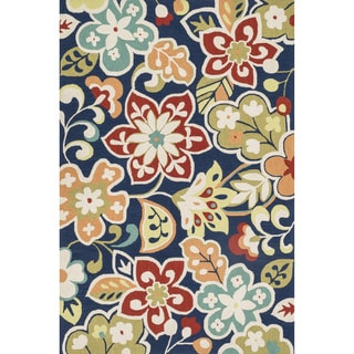 Hand-hooked Blossom Blue/ Multi Rug (3'6 X 5'6)