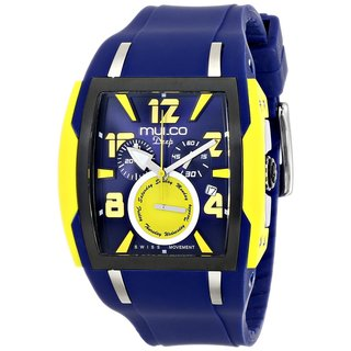 Mulco Men's 'Deep' Stainless steel and Blue silicone Watch