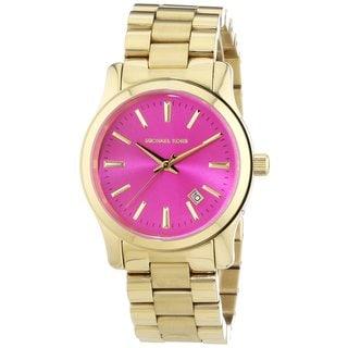 Michael Kors Women's MK5801 'Runway' Pink Dial Goldtone Stainless Steel Watch