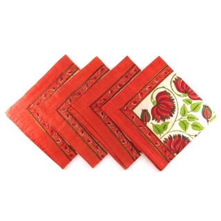 Hand Block Printed Rajastani Orange Lotus Flower Print 100% Cotton Napkins (India)