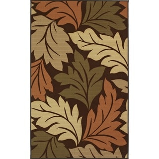 Quintessence Chocolate Leaf Nylon Area Rug (4'5 x 6'9)
