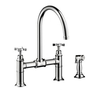 Hansgrohe Axor Montreux Chrome Bridge Kitchen faucet with Sidespray Cross Handle