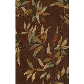 Manor Caramel/ Brown Leaf Rectangular Area Rug (5' x 7'9)