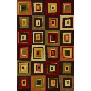 Quintessence Chocolate Geometric Nylon Area Rug (4'5 x 6'9)