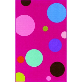 Upbeat Fuchsia Circle Nylon Rectangular Area Rug (4'5 x 6'9)