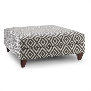 Stella Graphite Diamond-patterned Ottoman