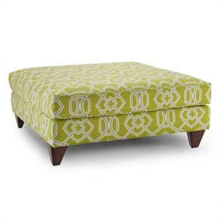 Stella Peridot/ Grey Cotton Upholstered Ottoman