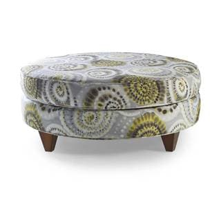 Serena Yellow/ Grey Cotton Upholstered Ottoman