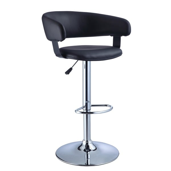 Powell Black Faux Leather Barrel and Chrome Adjustable Height Bar Stool