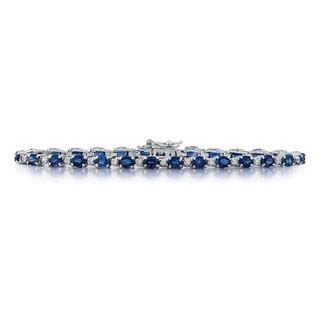 14k White Gold 1/4ct TDW White Diamond Oval-cut Sapphire Bracelet (G-H, SI1-SI2)
