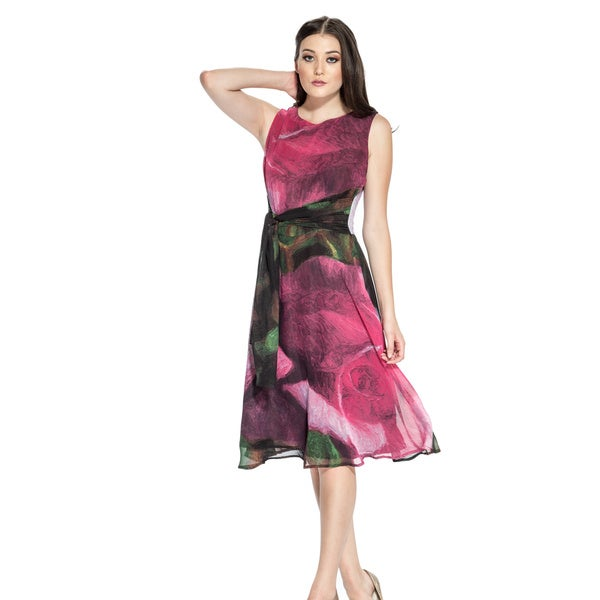Women's Tie-back Sleeveless Floral Dress