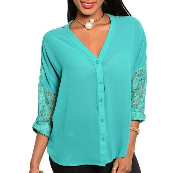 Stanzino Women's Chiffon Shoulder Lace Button-down Top