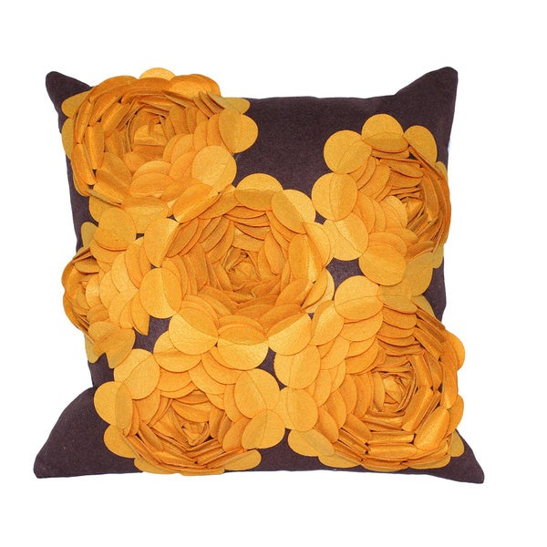 Auburn Textiles Brown/ Yellow 3-D Felt Decorative Pillow