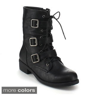 Refresh Women's 'Dason-08' Mid-calf Combat Boots