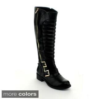 Refresh Women's 'Dason-09' Outside Zipper Knee-high Riding Boots