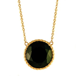 Beverly Hills Charm 14k Yellow Gold 10 1/3ct TGW Black Onyx Round Necklace