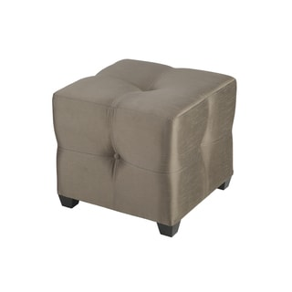 Bombay Outlet Langham Tan Tufted Fabric Cube Ottoman