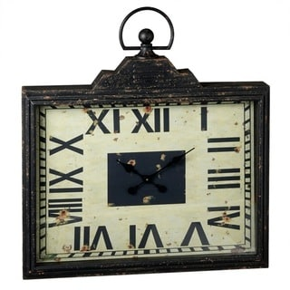 Distressed Black Rectangle Pocket Watch Clock