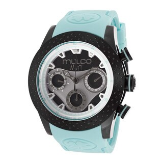 Mulco Women's 'Nuit' Black ion-plated Stainles Steel and Aqua Silicone Strap Watch