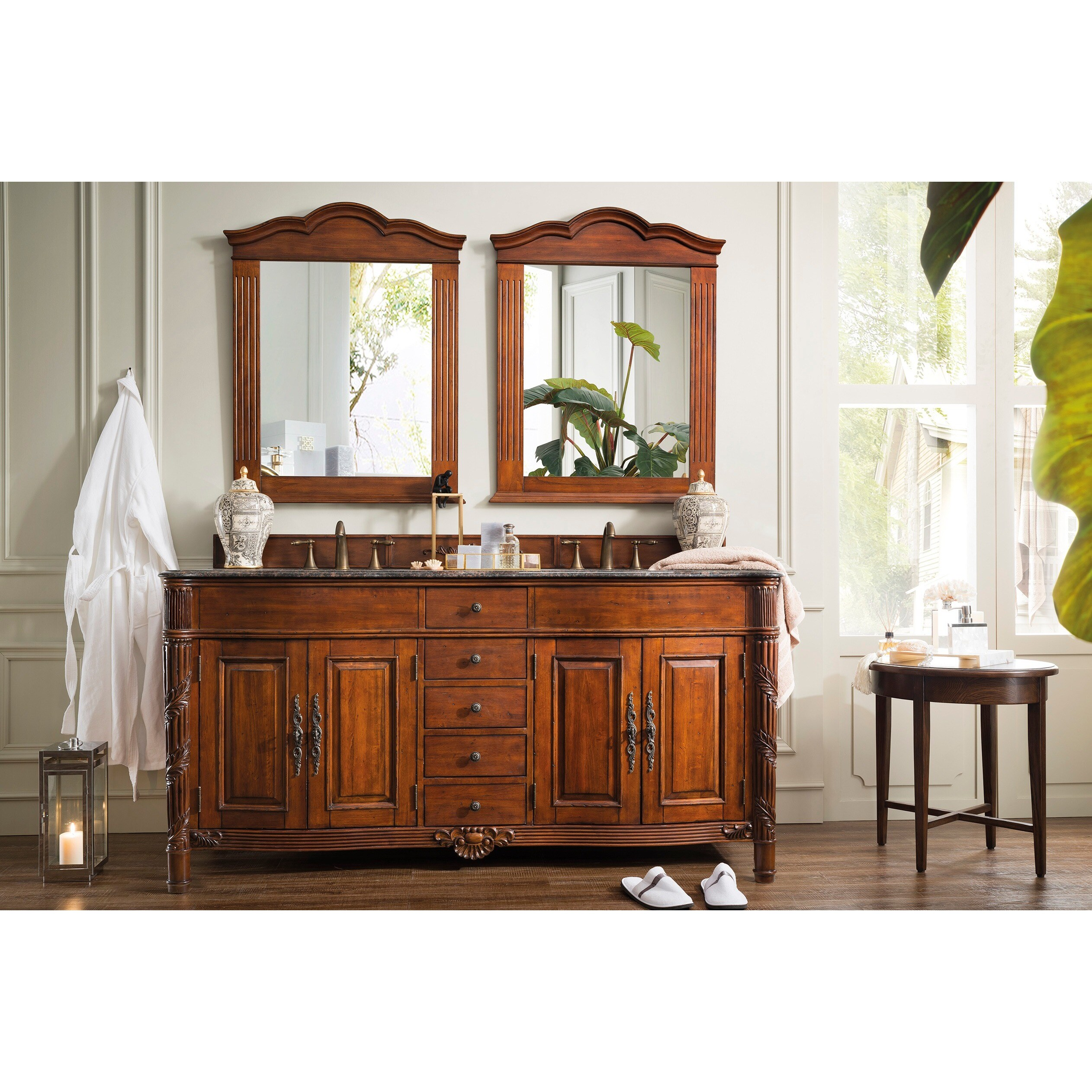 Overstock.com James Martin Furniture Classico Cherry 72-inch Double Granite Vanity Set at Sears.com