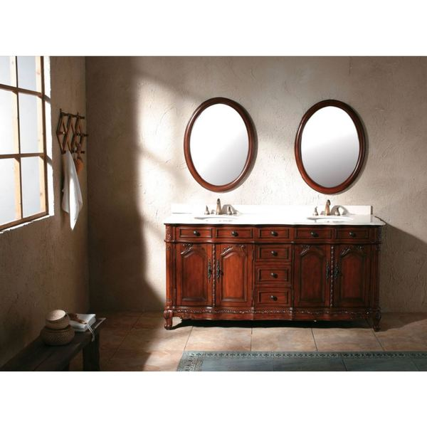 James Martin Classico Dark Brown Cherry/ Marble Double Vanity Set