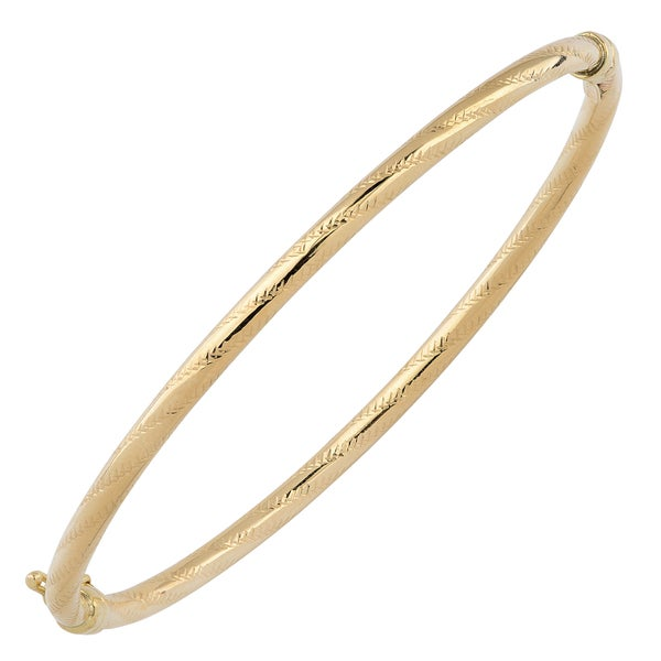 Fremada 10k Yellow Gold 3mm Polished and Textured Bangle