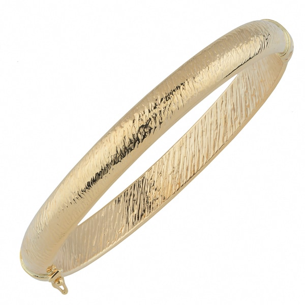 Fremada 10k Yellow Gold 8mm Stone Finish Bangle