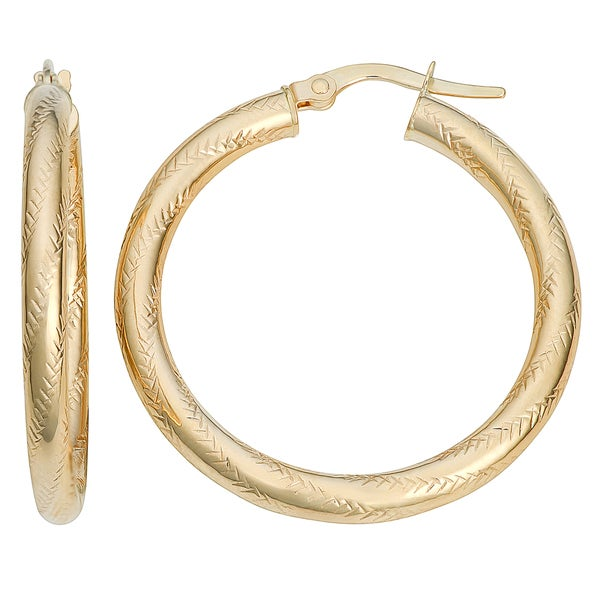Fremada 10k Yellow Gold 3x25mm Texture Hoop Earrings