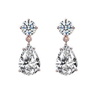 Collette Z Rose Goldplated Sterling Silver Cubic Zirconia Pear Drop Earrings