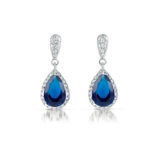 Collette Z Sterling Silver Blue Cubic Zirconia Pear Drop Earrings