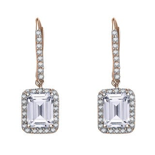 Collette Z Rose Goldplated Sterling Silver Cubic Zirconia Emerald-cut Dangle Earrings