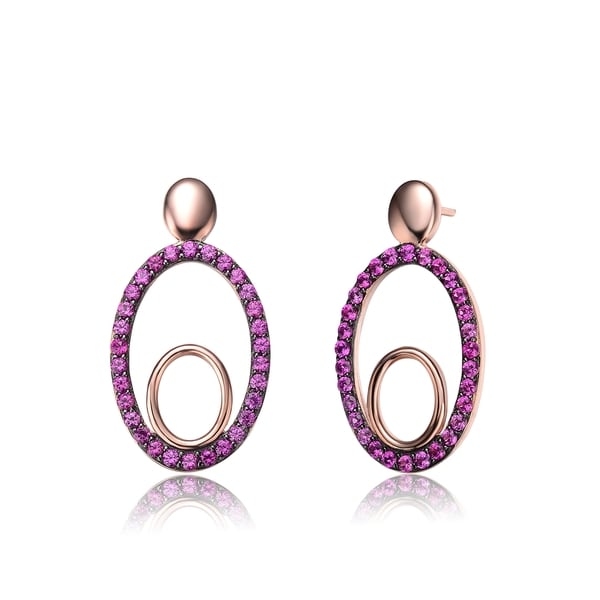 Collette Z Rose Gold and Black-plated Sterling Silver Red Cubic Zirconia Oval Earrings