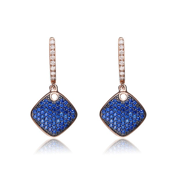 Collette Z Rose Gold and Black-plated Sterling Silver Blue Cubic Zirconia Diamond-shape Earrings