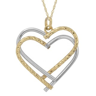 Fremada 10k Two-tone Gold Double Heart Pendant with Delicate Rope Chain Necklace