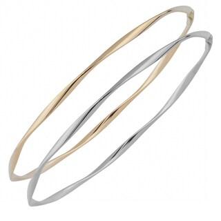 Fremada 10k Yellow or White Gold 2.5mm Polish Twist Slip-on Bangle