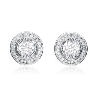 Collette Z Sterling Silver Cubic Zirconia Round Stud Style Jacket Earrings