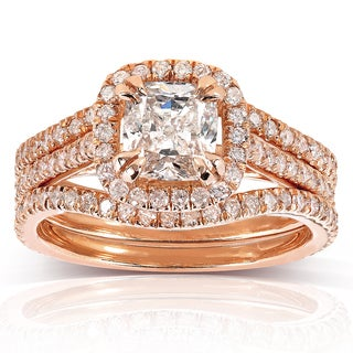Annello 14k Rose Gold 1 3/4ct TDW Cushion-cut Diamond 3-piece Bridal Set (H-I, I1-I2)
