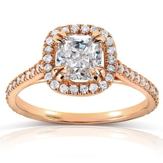 Annello 14k Rose Gold 1 1/3ct TDW Cushion-cut Diamond Halo Engagement Ring (H-I, SI1-SI2)