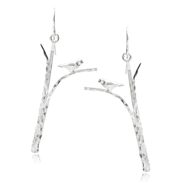Journee Collection Hammered Sterling Silver Bird Earrings