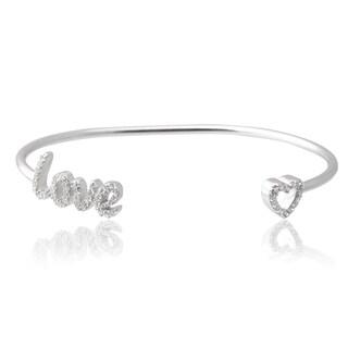 Tressa Collection Sterling Silver Cubic Zirconia 'Love' Heart Cuff