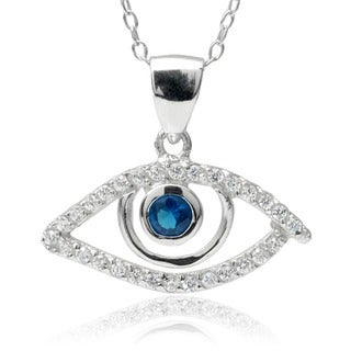 Journee Collection Sterling Silver Cubic Zirconia Evil Eye Pendant