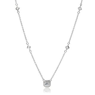 Tressa Collection Sterling Silver Cubic Zirconia Halo Pendant