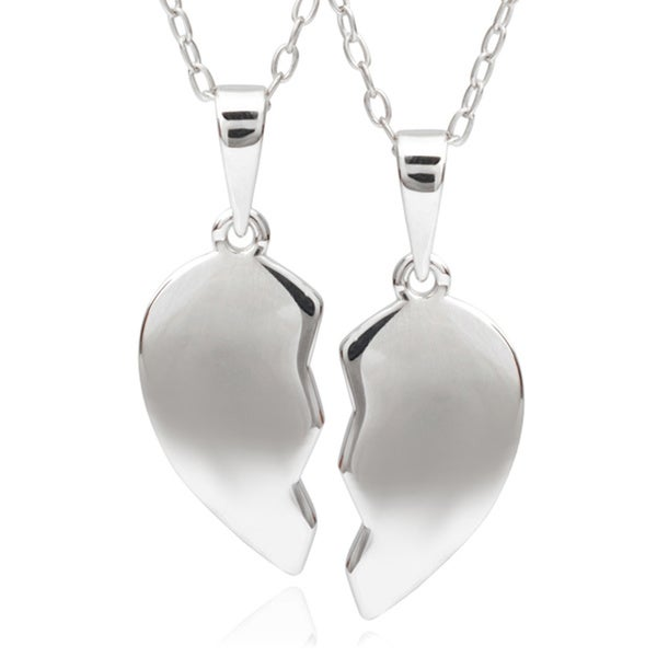 Journee Collection Sterling Silver Heart Pendant Set
