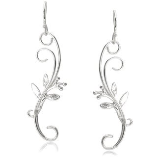 Journee Collection Sterling Silver Swirl Leaf Dangle Earrings